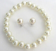 Classic Pearl Stretchable Bracelet With Elegant Stud Earrings Ivory Color