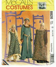 McCALLS COSTUMES PATTERN 8826 MISSES AND GIRL'S MEDIEVAL COSTUMES SIZE D (12-16)