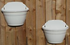 "SET OF TWO NEW WHITE PLASTIC 11"" HANGING WALL BASKET PLANTERS"