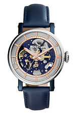 Fossil Women's ME3136 Original Boyfriend Automatic Skeleton Blue Leather Watch