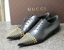 NIB GUCCI CIRANO LUX BLACK STUDDED POINTED TOE FLAT LACE UP OXFORD FLAT Shoes 38