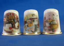 Birchcroft Thimbles -- Set of Three -- Cats & Sewing