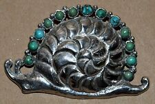 "Sterling Silver & Turquoise SNAIL BROOCH Vintage Signed Mexico 3"" x 2"" Pin"