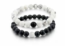 Couples Distance Bracelets His Hers Black Matte White Howlite Natural Stone 2pcs