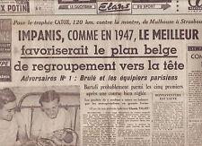 journal  l'équipe  21/07/48 CYCLISME TOUR DE FRANCE 1948 IMPANIS OCKERS BARTALI