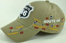 NEW! US ROUTE 66 LOS ANGELES TO CHICAGO BALL CAP HAT TAN