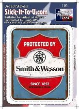 Protected by Smith & Wesson – Decal Sticker Gun Security