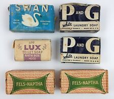 Vintage Soap Bundle Lot of 6 Bars - Fels-Naptha - P and G - Swan - Lux