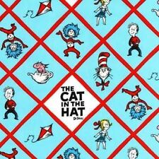 DR SEUSS CAT IN THE HAT BLUE DIAMOND CHARACTERS FABRIC