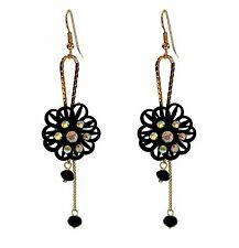 ConMiGo London a35 ladies' eye catching black and sequin flower drop earrings