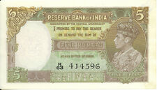 Reserve Bank of India British 5 Rupees ND 1937 Taylor King George VI AU+/ UNC