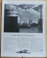 1940 magazine ad for Ford - Anchors Away on The Ford Fleet, River Rouge docks