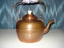 TEA POT SOLID COPPER PORCELAIN HANDLE & LID HOLDER MADE IN PORTUGAL