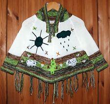 Kinder Poncho Gr. 80*86, weiß grün, Ärmel Fransen XXL-Kapuze, Inka Indianer Peru