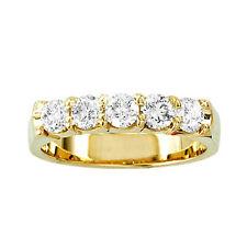 14K Ladies Yellow Gold Round Diamond 5 Stone Diamond Anniversary Band Ring 1/4Ct