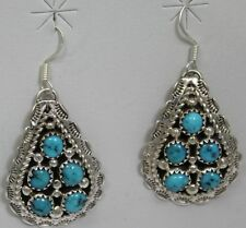 Navajo Indian Earrings Turquoise Dangles Sterling Silver Tina Jones