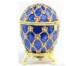 BEJEWELED RHINESTONE CRYSTAL ENAMEL TRINKET BOX - BLUE EGG