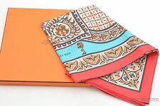 """Authentic HERMES Scarf """"CIELS BYZANTINS"""" Silk Red 27429"""