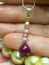 RARE GENUINE NATURAL UNTREATED SMOOTH RED RUBY BRIOLETTE 14K GOLD PENDANT