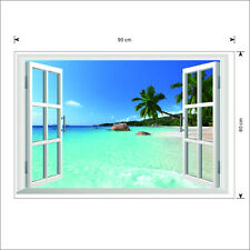 Huge Removable Beach Sea 3D Window Scenery Wall Sticker Decor Decals Mural ACWS