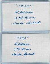(2) MIKE GOLIAT INDEX CARD SIGNED LOT 1950 PHILLIES WHIZ KIDS PSA/DNA 1921-2004