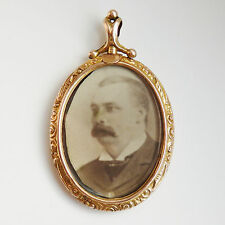Antique Edwardian Engraved 9ct Gold Oval Glass Screw Top Double Locket c1905