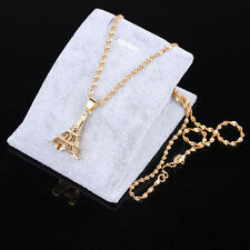 New Fashion Jewelry 24K gold Yellow Filled plated Eiffel Tower Pendant Chain