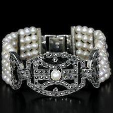 Sterling Silver 925 Genuine Natural Pearl & Marcasite 5 Row Bracelet 7 Inches