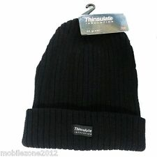 UNISEX  Black Thinsulate Chunky Fleece Beanie Hat Thermal for Winter - UZ18