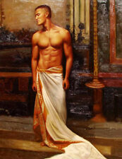 """Huge GAY oil painting nude male portrait strong man standing in bedroom 36"""""""