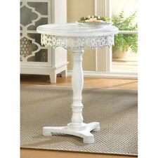 round white distressed Shabby pedestal Parisian bistro End bedside side Table