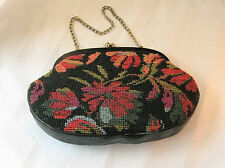 Vintage Clutch Handbag or Purse with Optional Chain Handle - Needle Point Fabric
