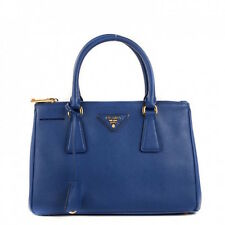 NWOT AUTHENTIC PRADA Saffiano Small Double-Zip Tote Bag Blue (Bluette)