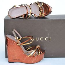 GUCCI New sz 39.5 - 9.5 Designer Platform Cork Wedge Womens Sandals Shoes $950