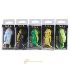 5pcs Soft Toad Plastic Hollow Fishing Lure Crankbait Hooks Bass Bait Frog Pop