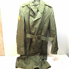 US ARMY KOREAN WAR TRENCH COAT WOOL 4TH ARMORED DIV. SERGEANT