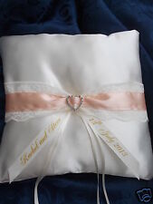 Personalised Wedding ring cushion diamante heart design ~ any colour~