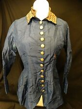 Antique Victorian 1800's Blouse Blue w/Multi Color Collar Nice detailed buttons