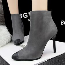 Sexy Club Zipper Ankle Boots Pointed Toe High Heels Suede Stiletto Women's Shoes