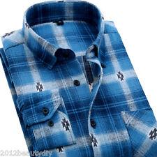 Mens Classic Flannel Plaids Checks Cotton Long Sleeve Casual Dress Shirt Top