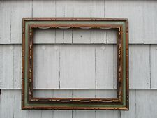 Vintage Mid-Century Carved Wood Green Teal Picture Frame fits 18 x 22