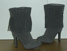 NEW LADIES GREY FAUX SUEDE FRINGE & STUD DESIGN HEELED BOOTS. SIZE 6.5/EURO 40