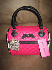 NWT Betsey Johnson Fuchsia Pink Black Cream Speedy Lunch Box Tote Bag Insulated