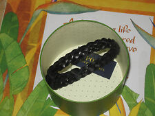 POLO RALPH LAUREN Braided Leather Wrist Strap -BLACK- Double-wrapped silhouette