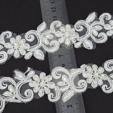1M IVORY PEARL BEADED LACE BRIDAL WEDDING TRIM TRIMMINGS 35mm WIDTH LC88