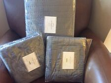 POTTERY BARN Silk Channel Two-Toned FULL/QUEEN Quilt & 2 Euro Shams NEW - Gray