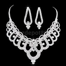 Gorgeous Wedding Flower Rhinestone Necklace And Earrings Set Crystal Jewelry