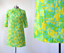 TRUE VINTAGE 1960s 60s Psychedelic Costume Mini Dress Yellow Green Small XS