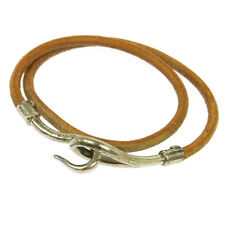 Authentic HERMES Vintage Jumbo Hook Silver Brown Leather Choker Necklace V11227