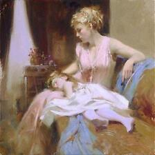 """Pino """"Long Day"""" Cute girl asleep on mom's lap Embellished Canvas HS# 12x12"""
